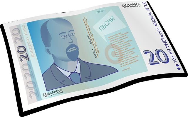 fiktivní modrá bankovka, ilustrace